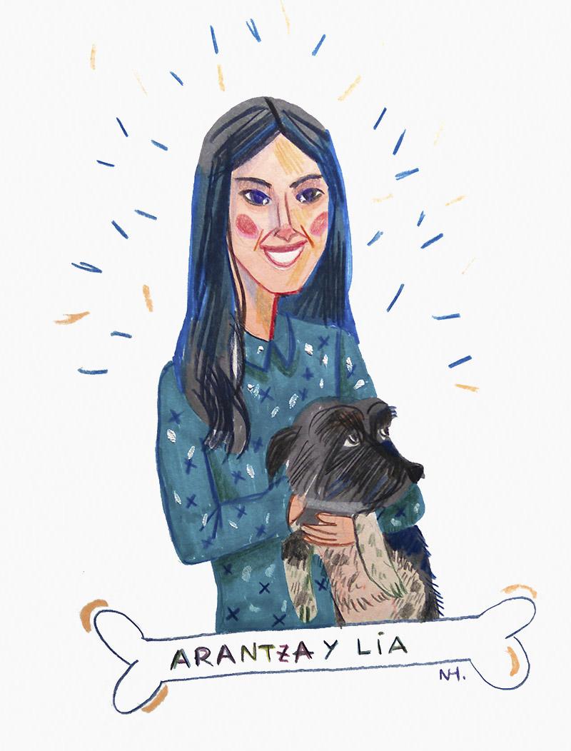 Ilustración personalizada de perrito y humana