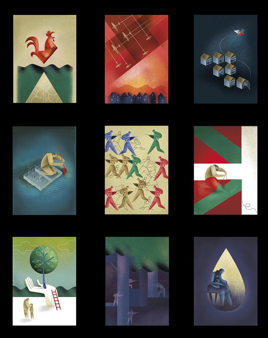 Ilustración Revista Hermes Aniversario Guerra Civil