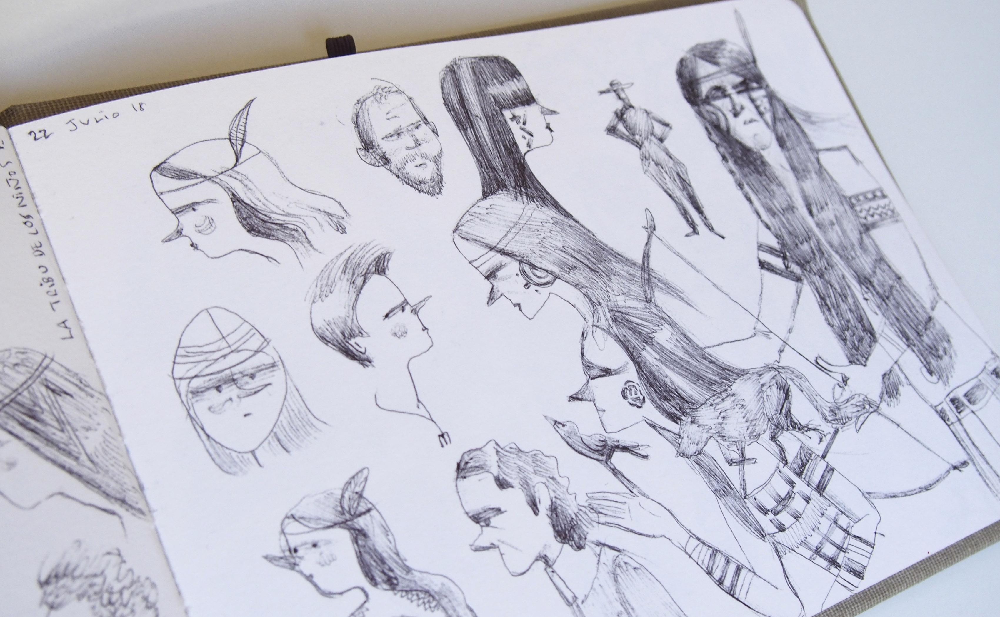 Detalle de las ilustraciones y bocetos de mis cuadernos.